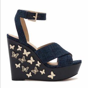 NEW Michael Kors Lacey Denim Wedge Sandal
